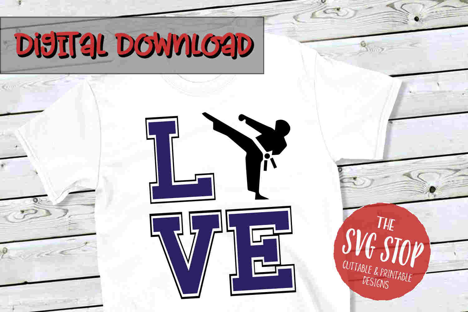 Love Karate -SVG, PNG, DXF example image 1