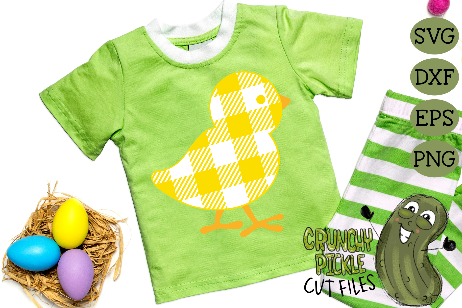 Plaid & Grunge Baby Chick Easter / Spring SVG Cut File example image 2