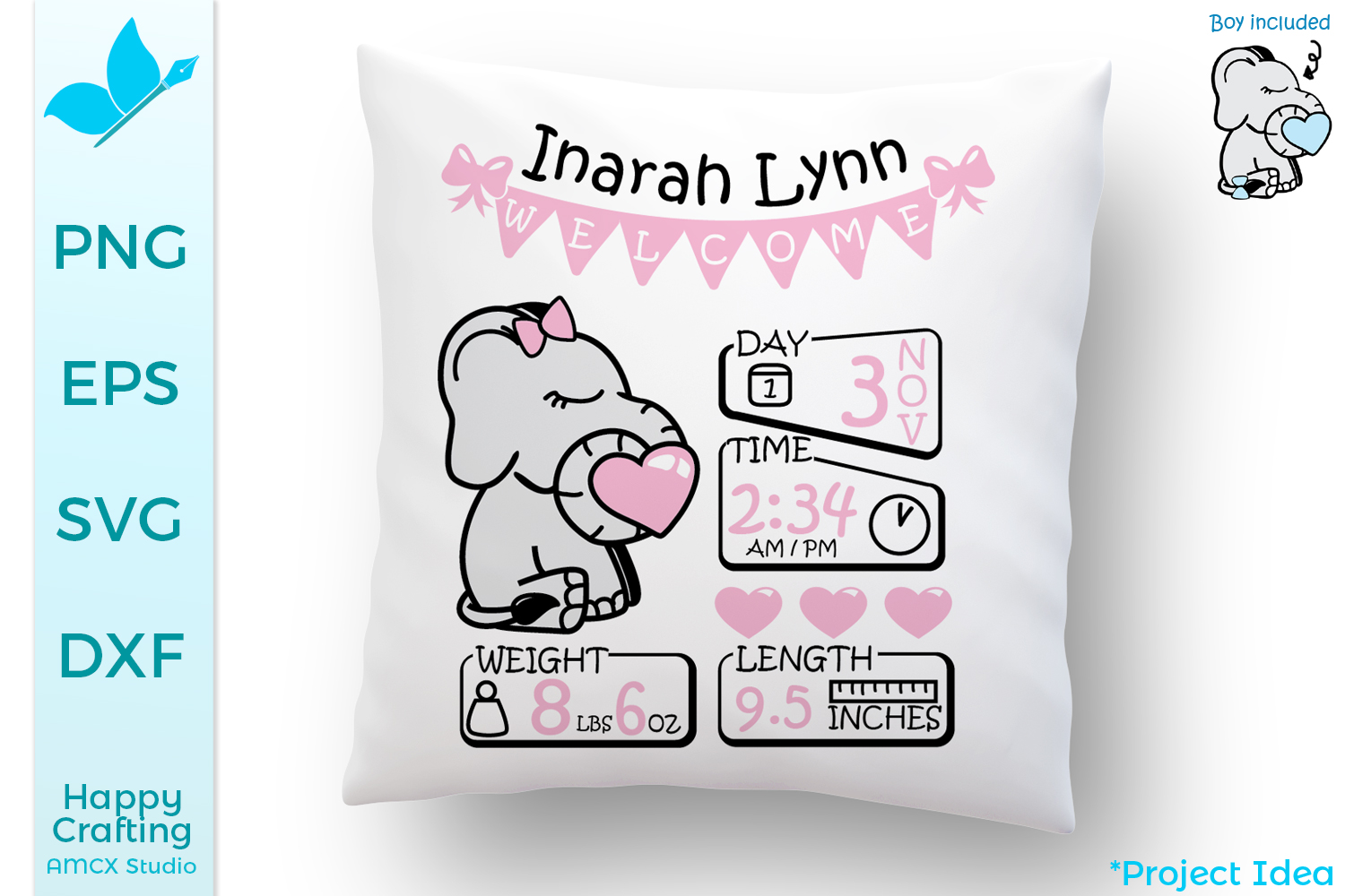 Baby Elephant SVG Files - A cute baby announcement example image 1