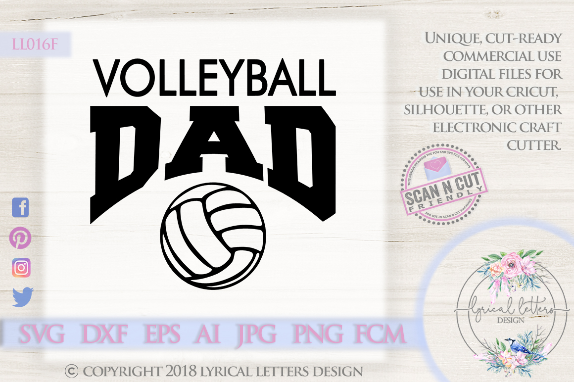 Volleyball Dad Sports SVG DXF Cut File LL016F example image 1