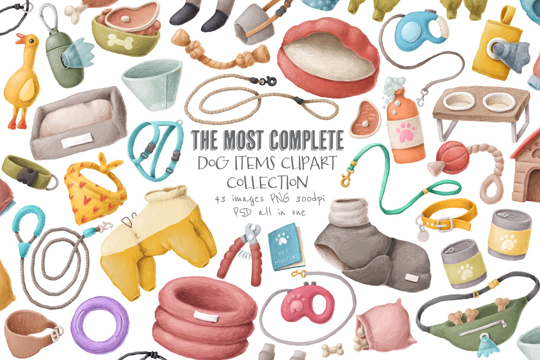 Dog items clipart collection example image 1