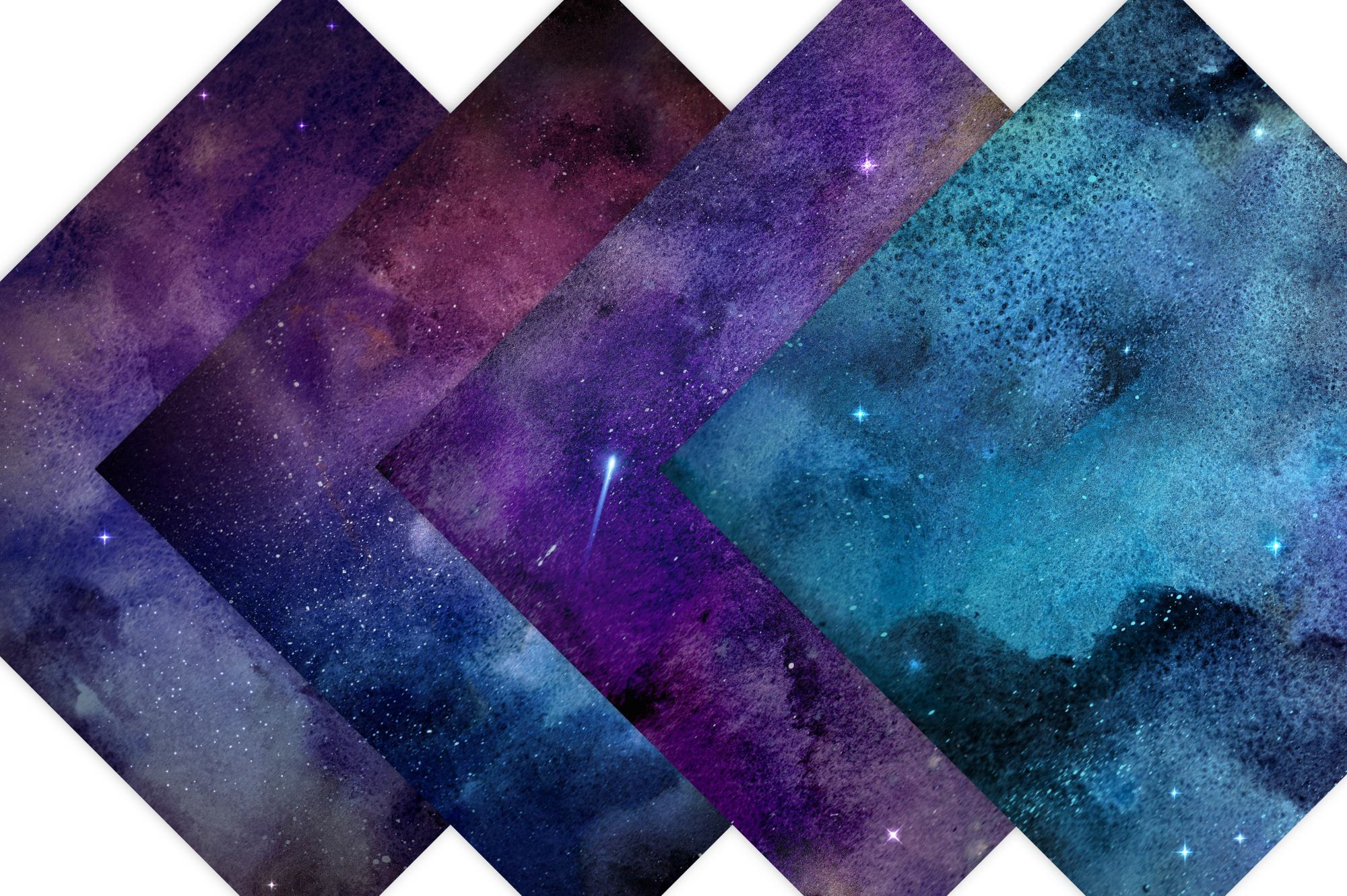 Watercolor Galaxy Digital Prints - Digital Papers example image 4