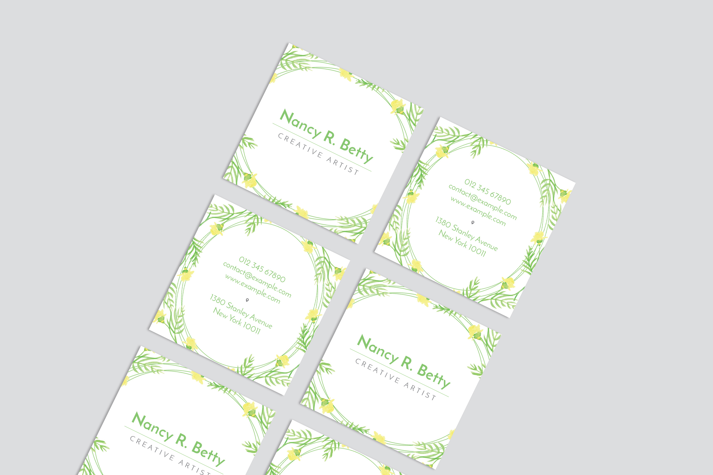 Floral Square Business Card example image 6