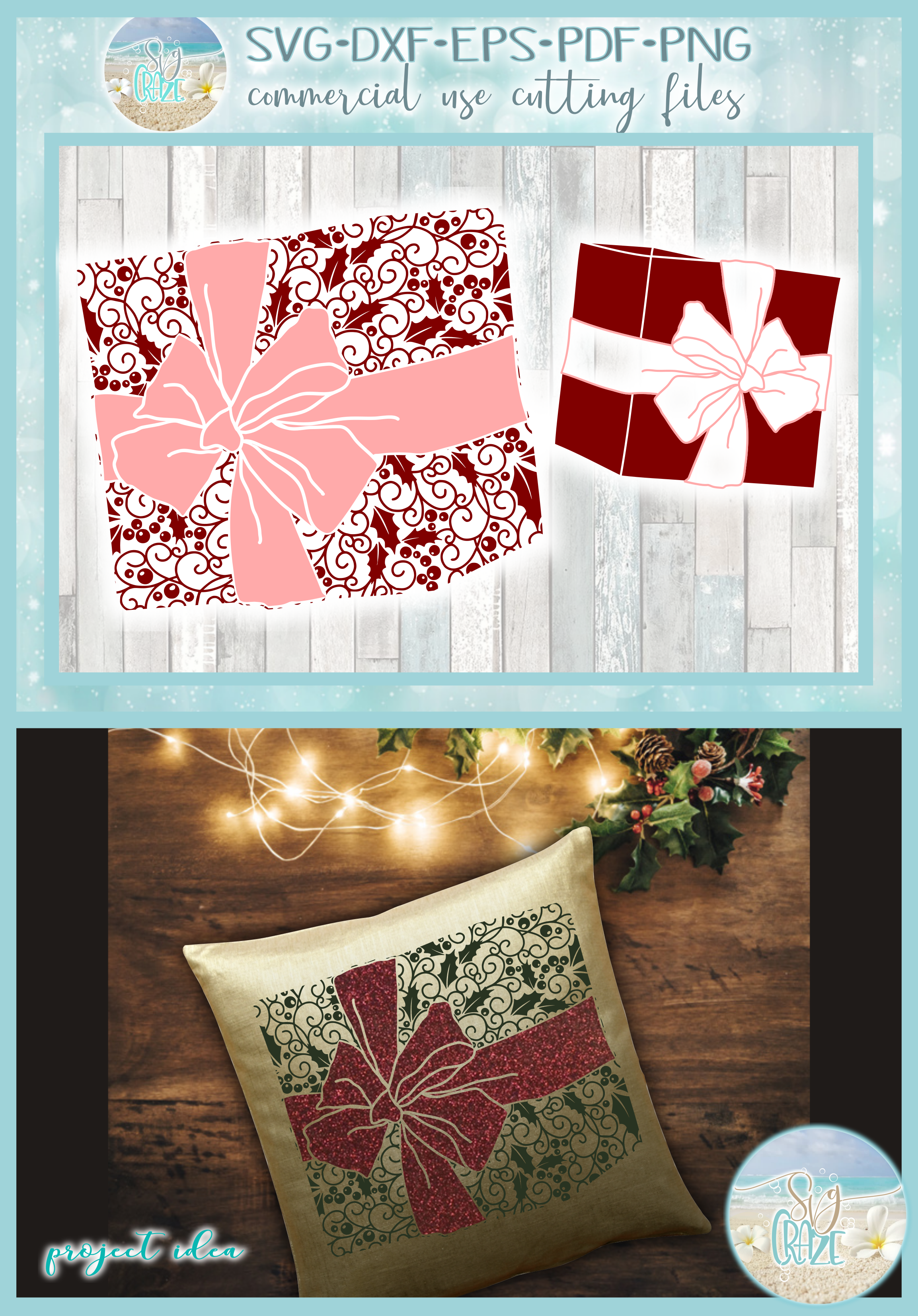 Gift with Bow Mandala Holly Berries Zentangle SVG example image 4
