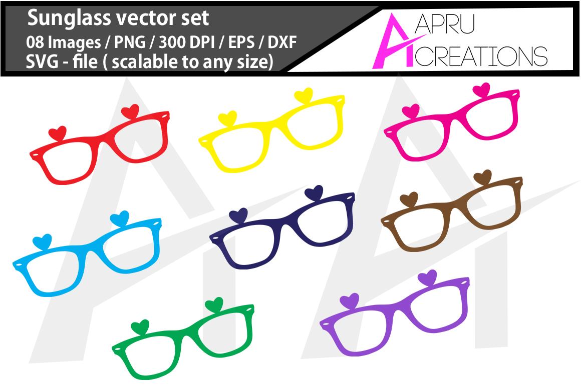 sunglass SVG cut file / coloured sunglass cut file / sunglass silhouette vector                             example image 1