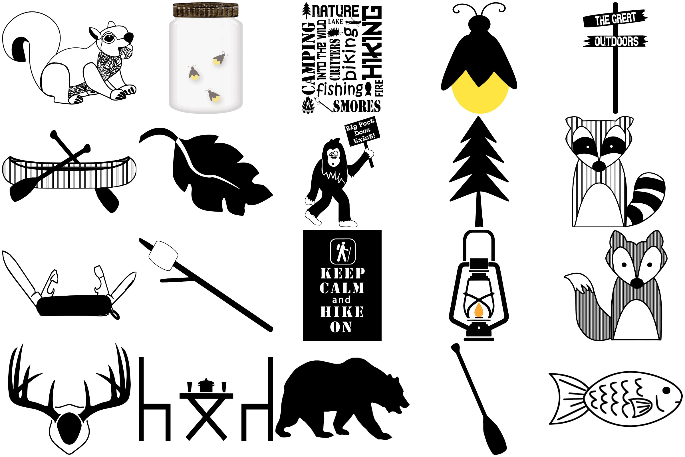 Camping Doodles & Silhouettes Mega Bundle AI EPS PNG example image 2