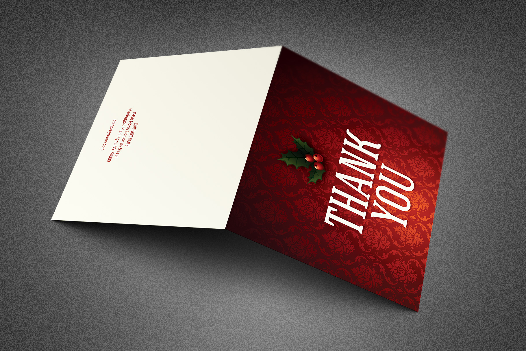 Ornate Christmas Thank You Card Template example image 3