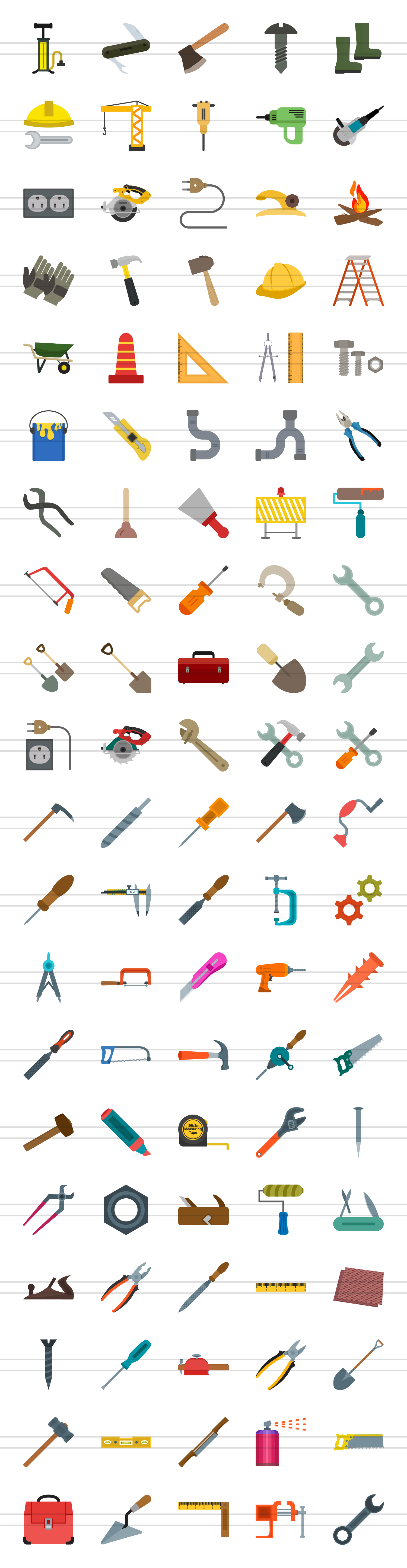 100 Tools Flat Icons example image 2