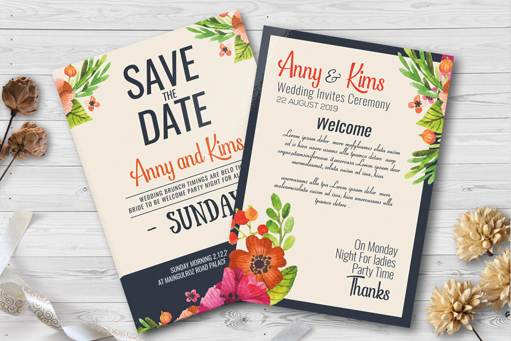 Double Sided Save The Date Wedding Invites Template example image 1