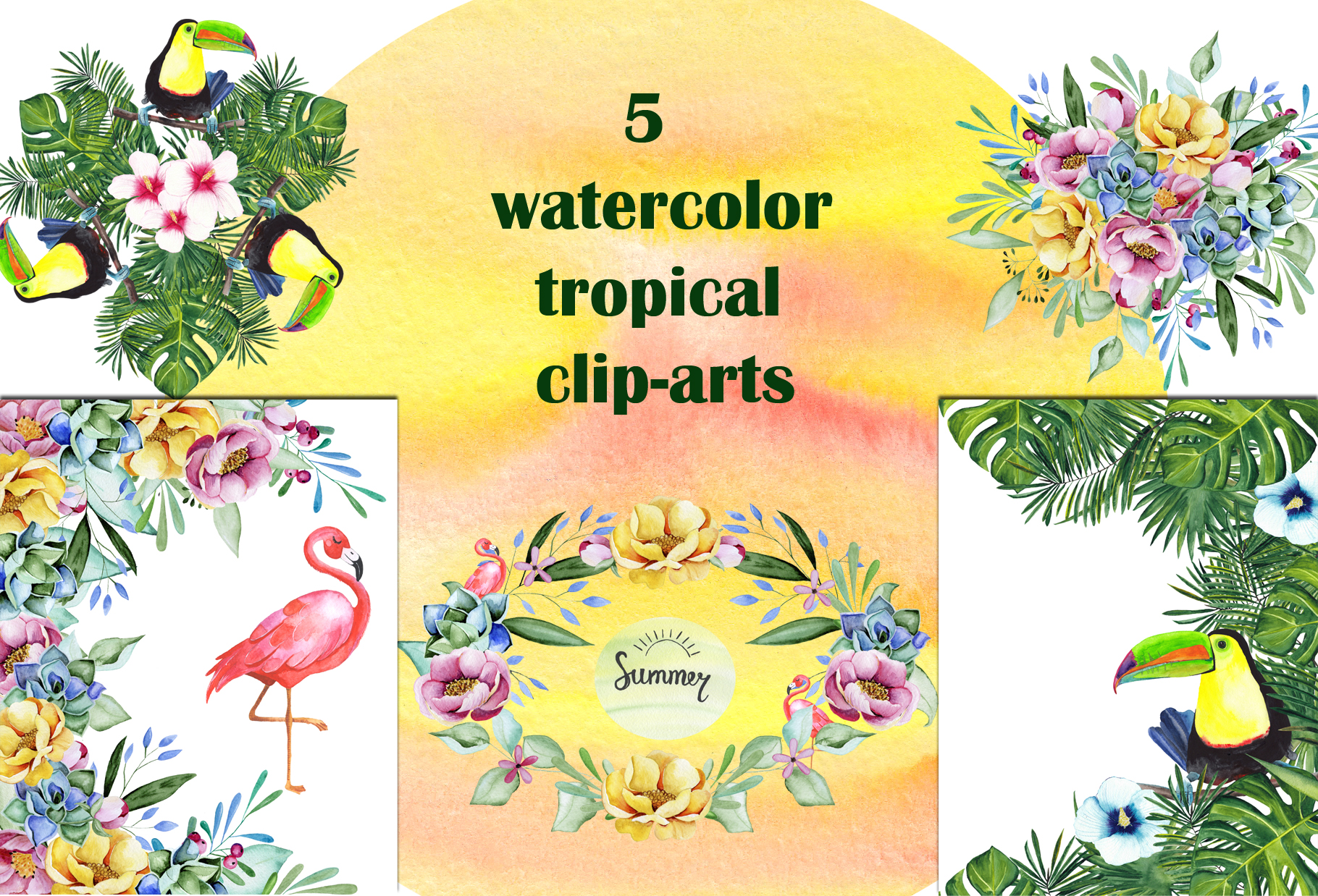 Tropical watercolor collection example image 11