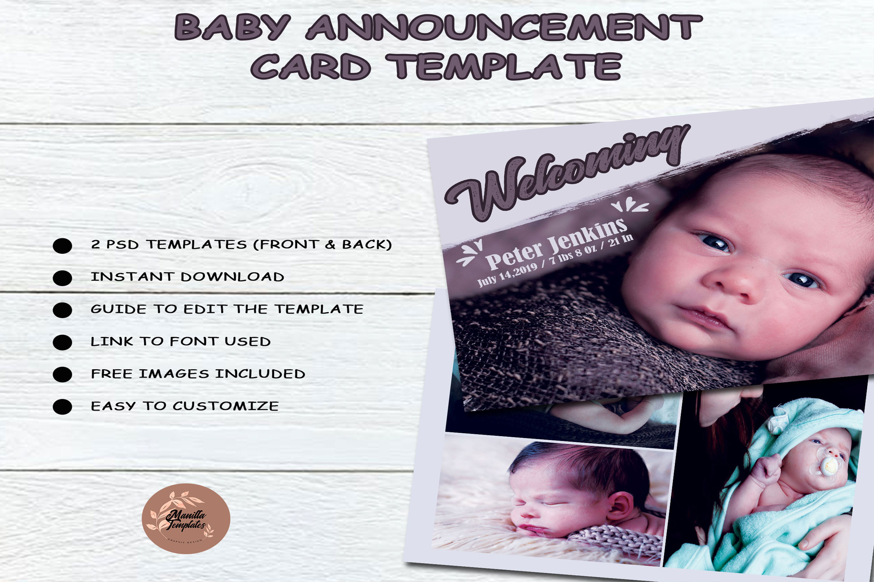 Baby Shower Announcement Card Template example image 4