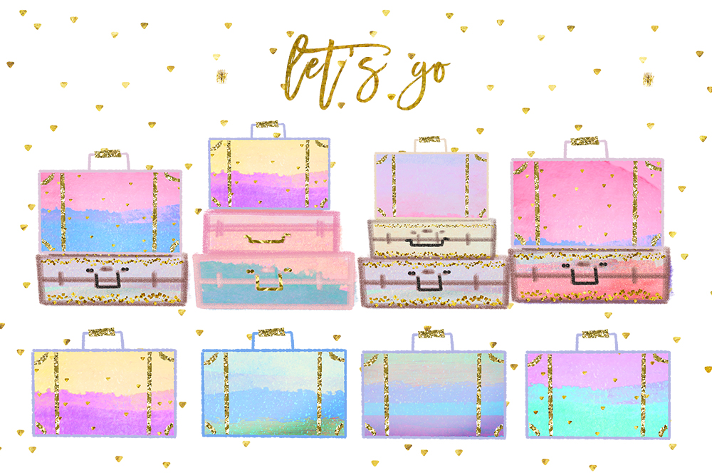 Summer Vacation Travel Clip art, Planner Stickers, Photography Branding, Digital Cliparts, rainbow pastel graphics resources Fabric Backdrop example image 1