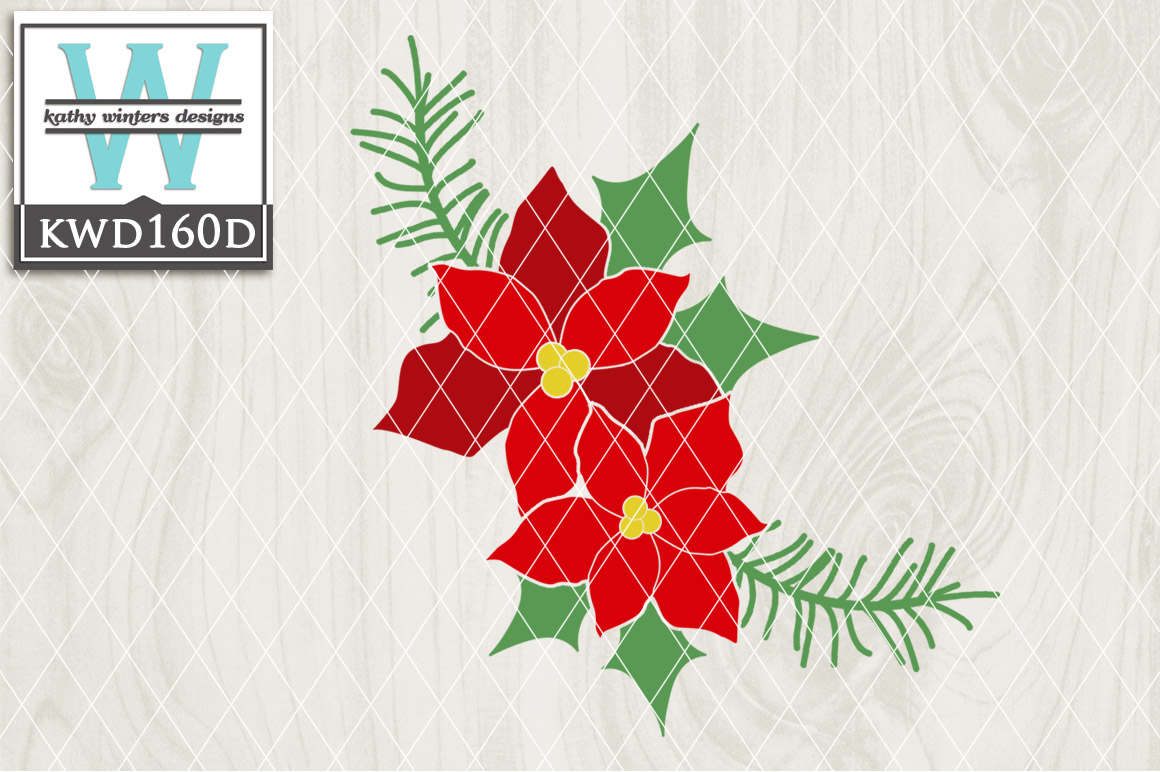 Christmas SVG - Poinsettias KWD160D example image 1