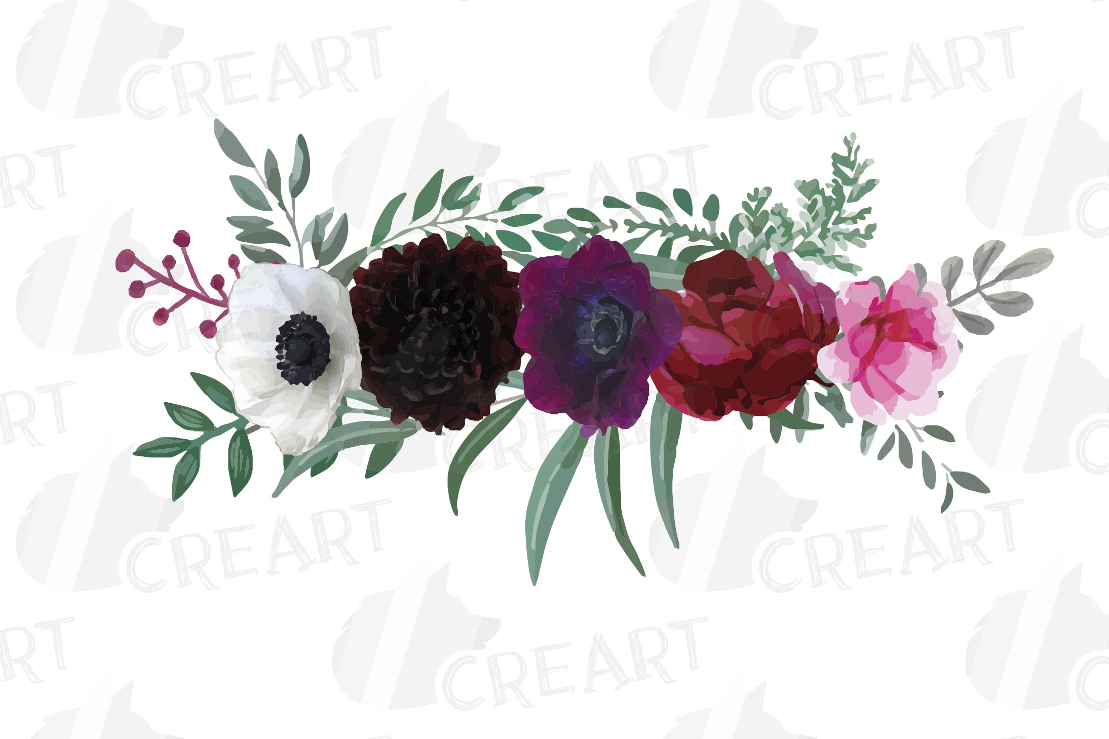 Watercolor elegant floral bouquets 2, rose, anemone decor example image 13