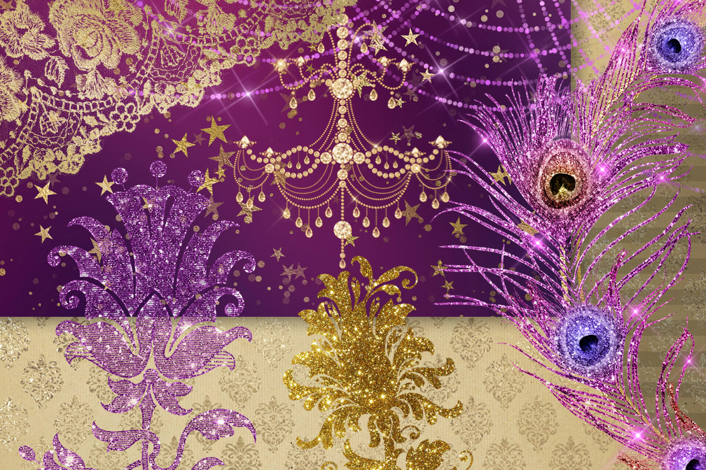 Plum and Gold Digital Scrapbooking Kit example image 2
