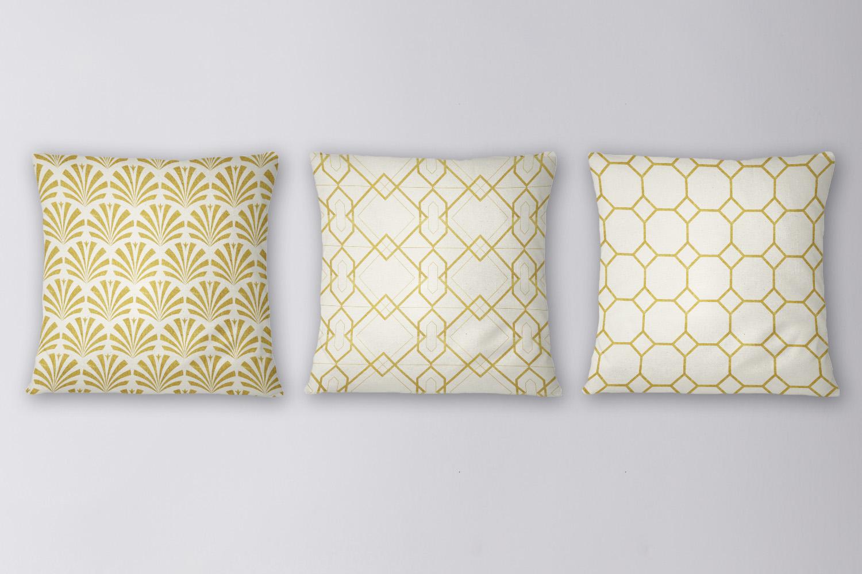 8 Seamless Art Deco Patterns - Ivory & Gold Set 2 example image 3