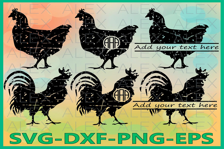 Cock Rooster Svg, Grunge SVG, Chicken Monogram svg example image 1