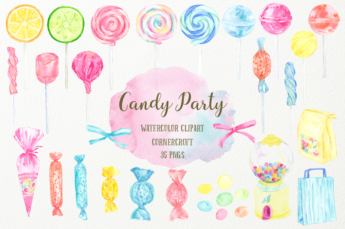 Watercolor Candy Party Clip Art  example image 4