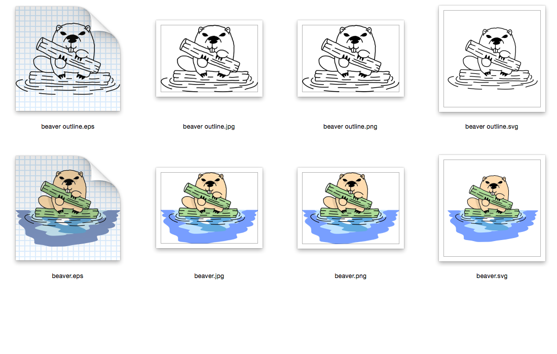 Beaver with a log- SVG-EPS-JPG-PNG example image 2