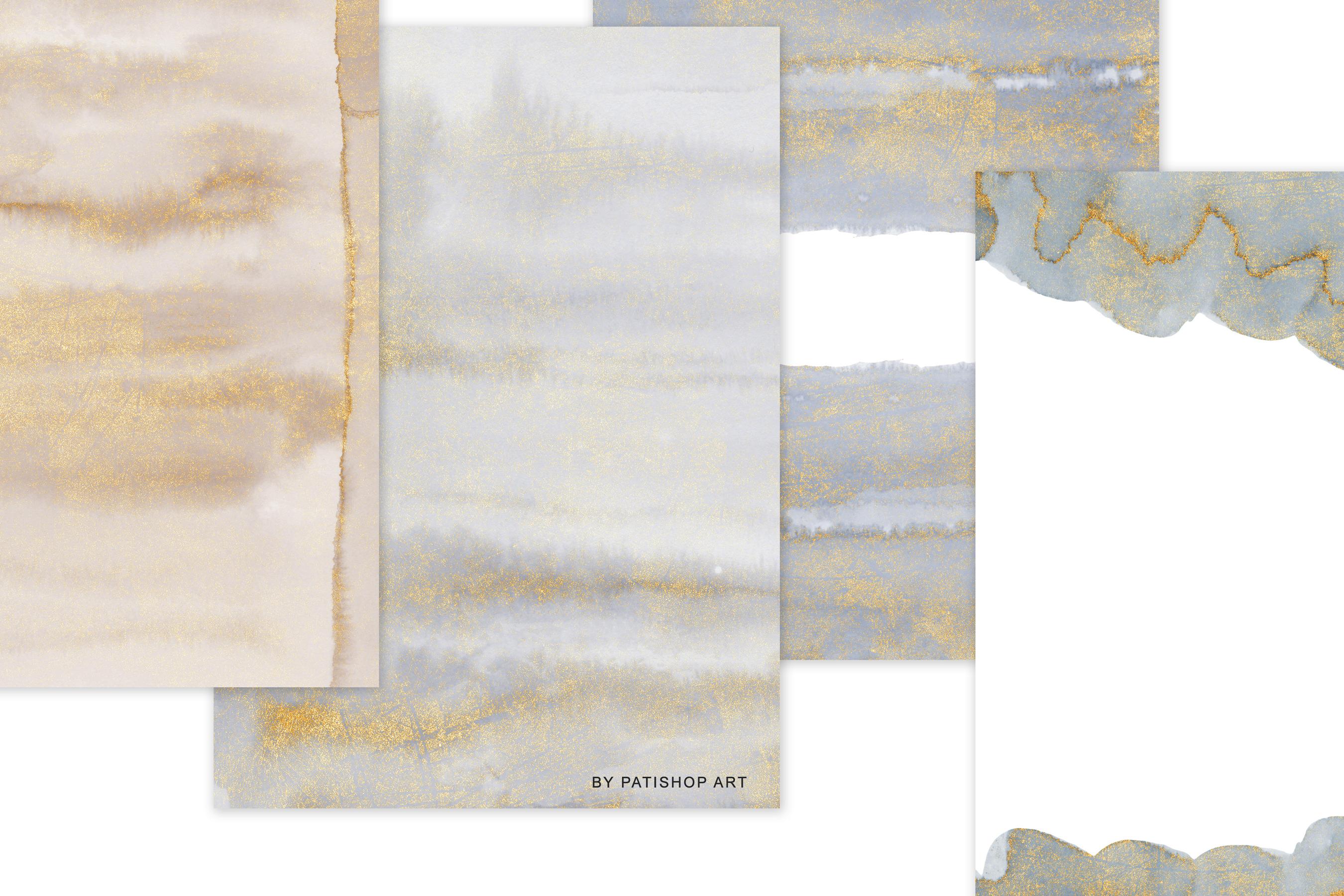 Watercolor Glittered Gray & Beige Background 5x7 example image 8