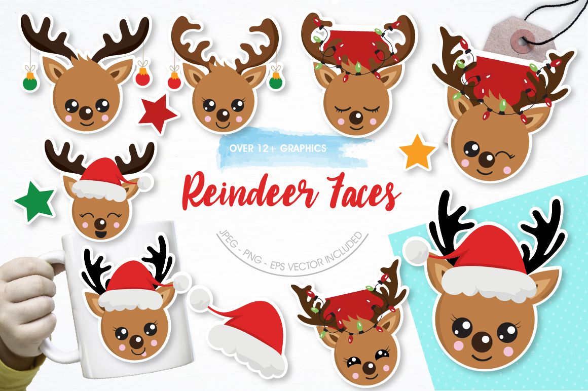 Reindeer faces graphics and illustrations example image 1
