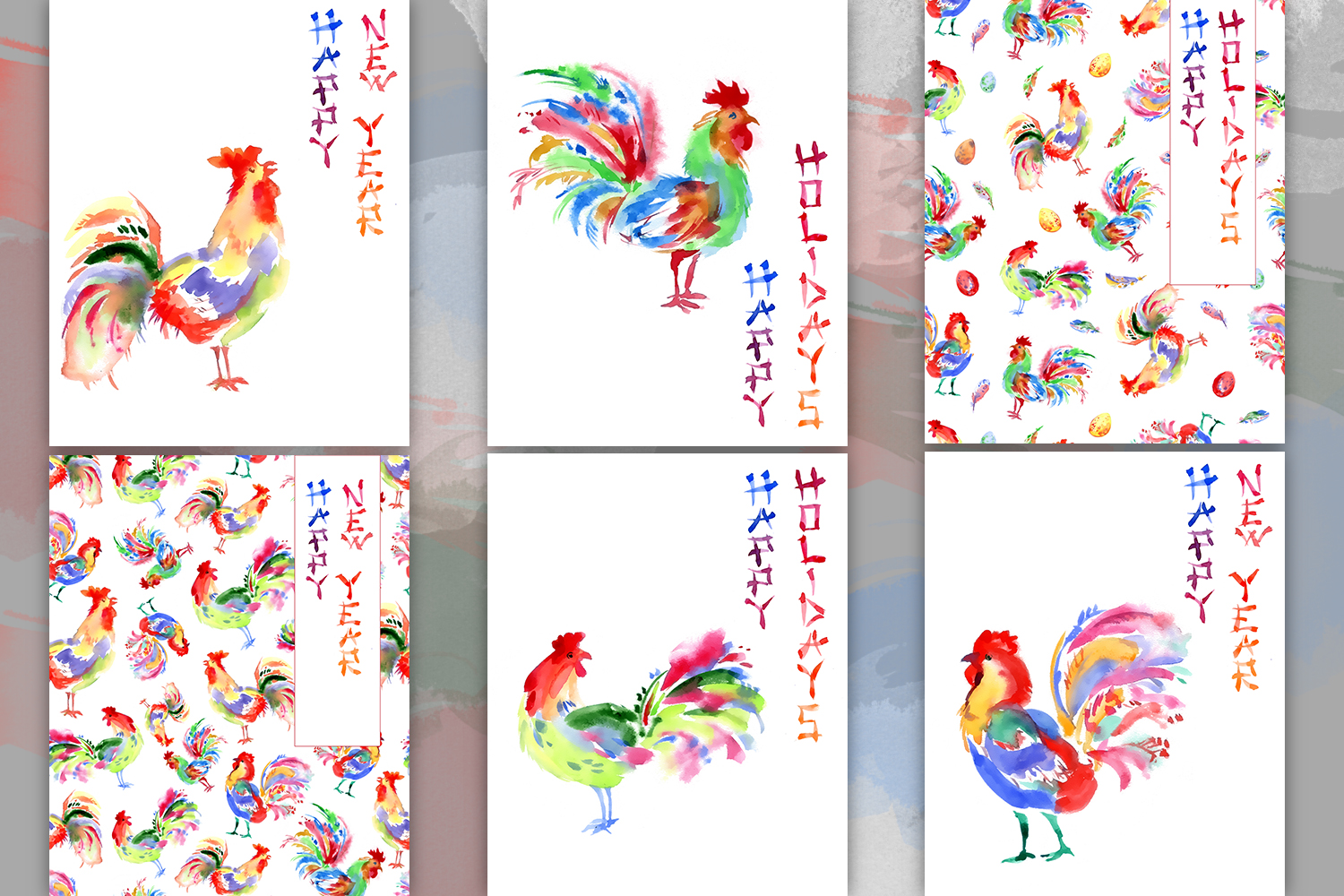 Watercolor hand drawn bright greeting card with the rooster, chinese style. New year invintation, hieroglyphic writing example image 4