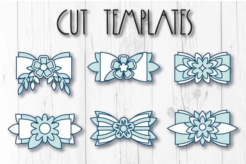 6 Hair bow template SVG, Flower faux leather bow template example image 8