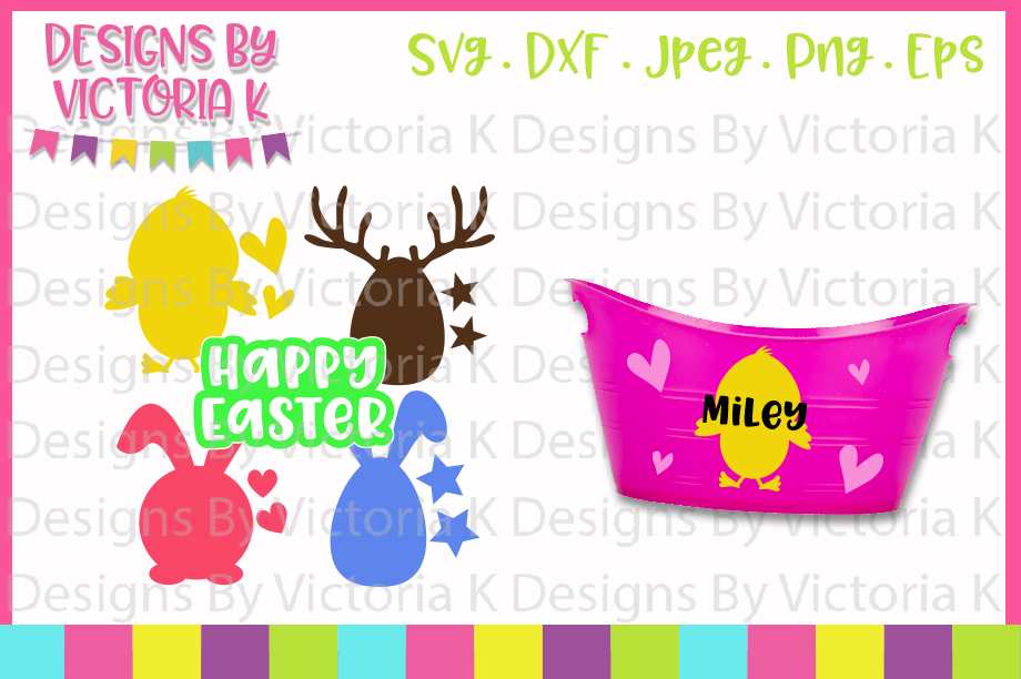 Easter, Chick, Egg, Stag, Bunny, Happy Easter, SVG, DXF, PNG example image 1