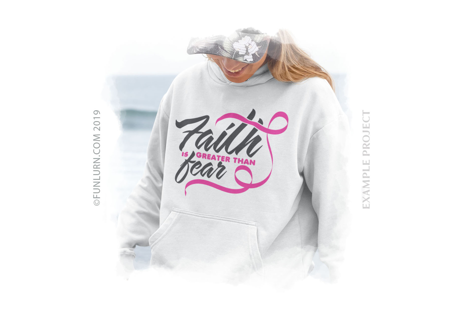 Faith is Greater Than Fear Pink Ribbon SVG Cut File example image 3