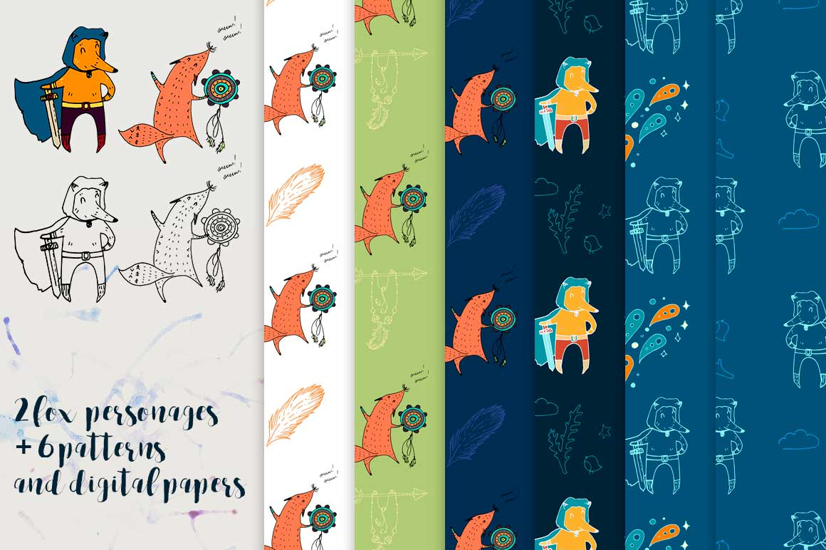 Fox personages and patterns example image 1