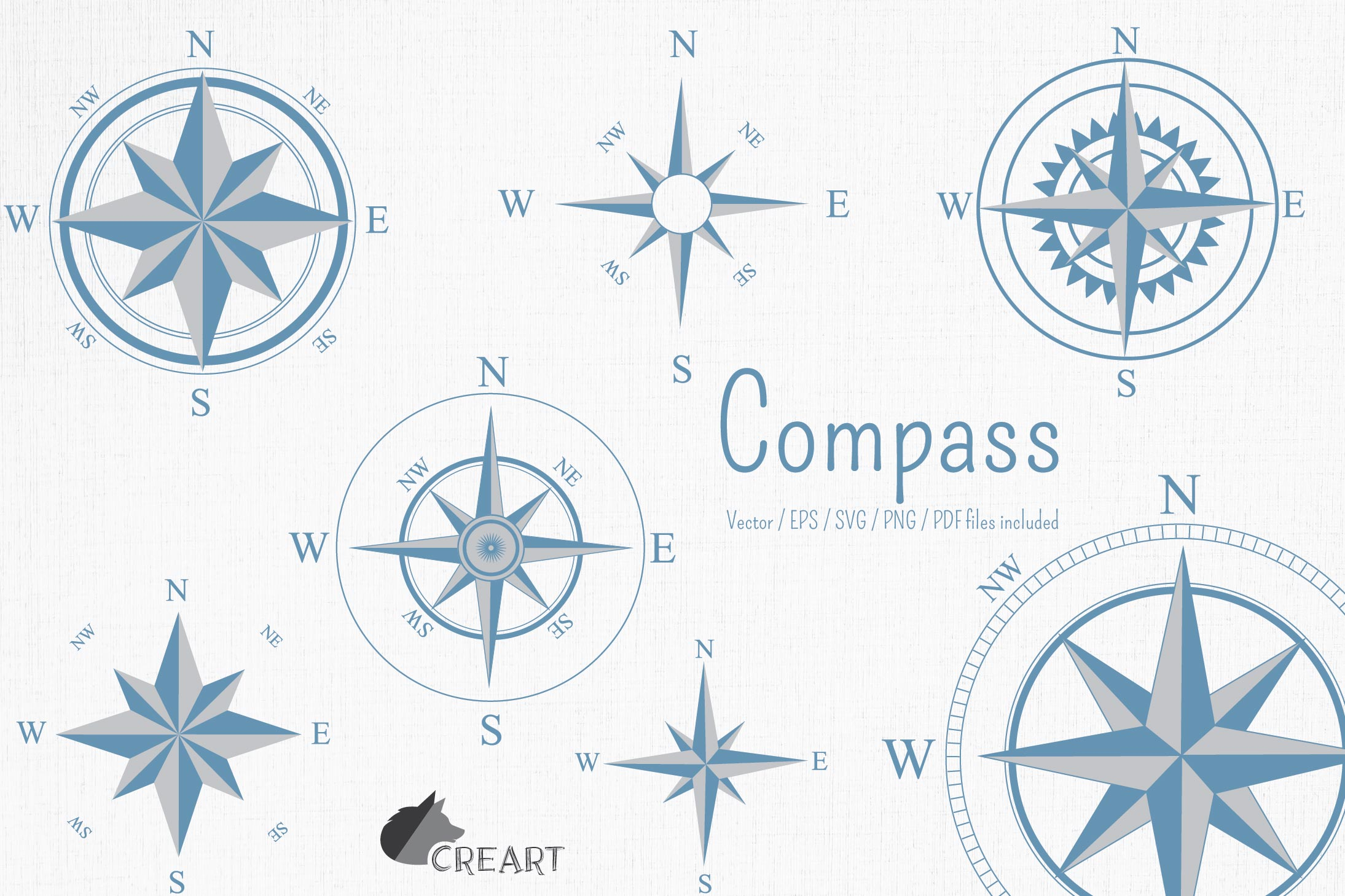Compass rose navigation silhouette. Travellers decoration. example image 1