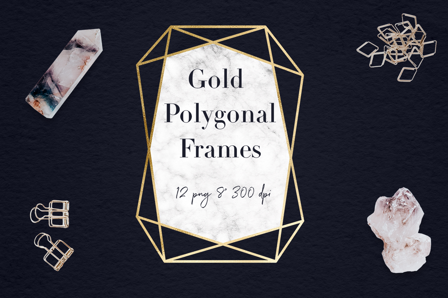 Marble And Gold Frames Clipart example image 1