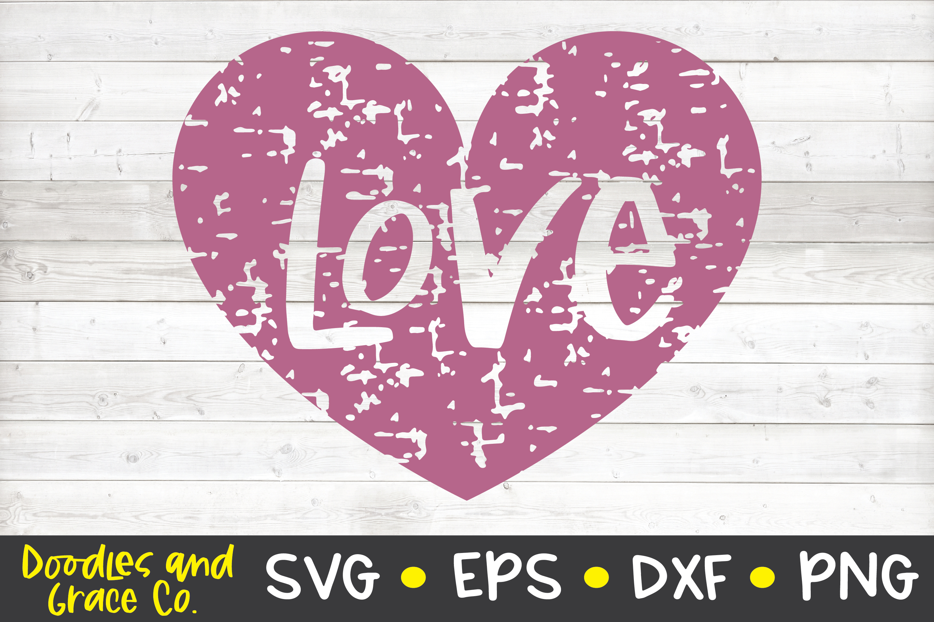 Grunge Love Heart SVG - DXF - EPS - PNG example image 2
