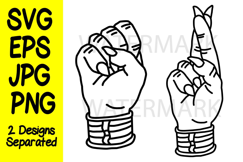 Devil Fist and Devil Finger Crossed - JPG PNG SVG EPS example image 1