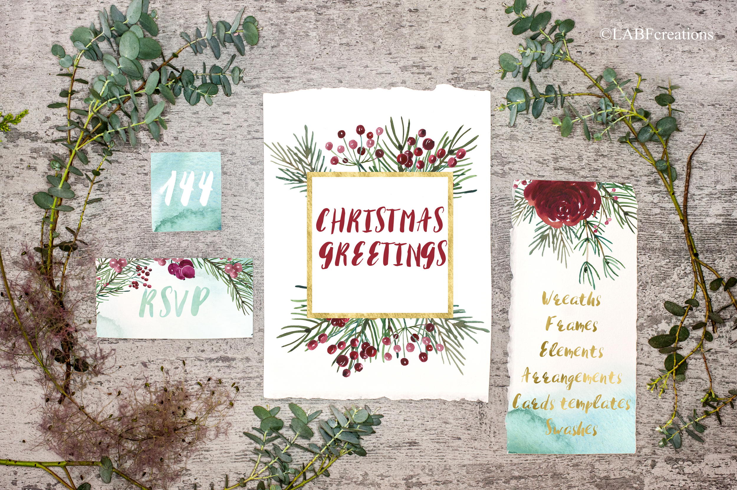 Christmas greetings. Hand drawn watercolor collection. example image 11