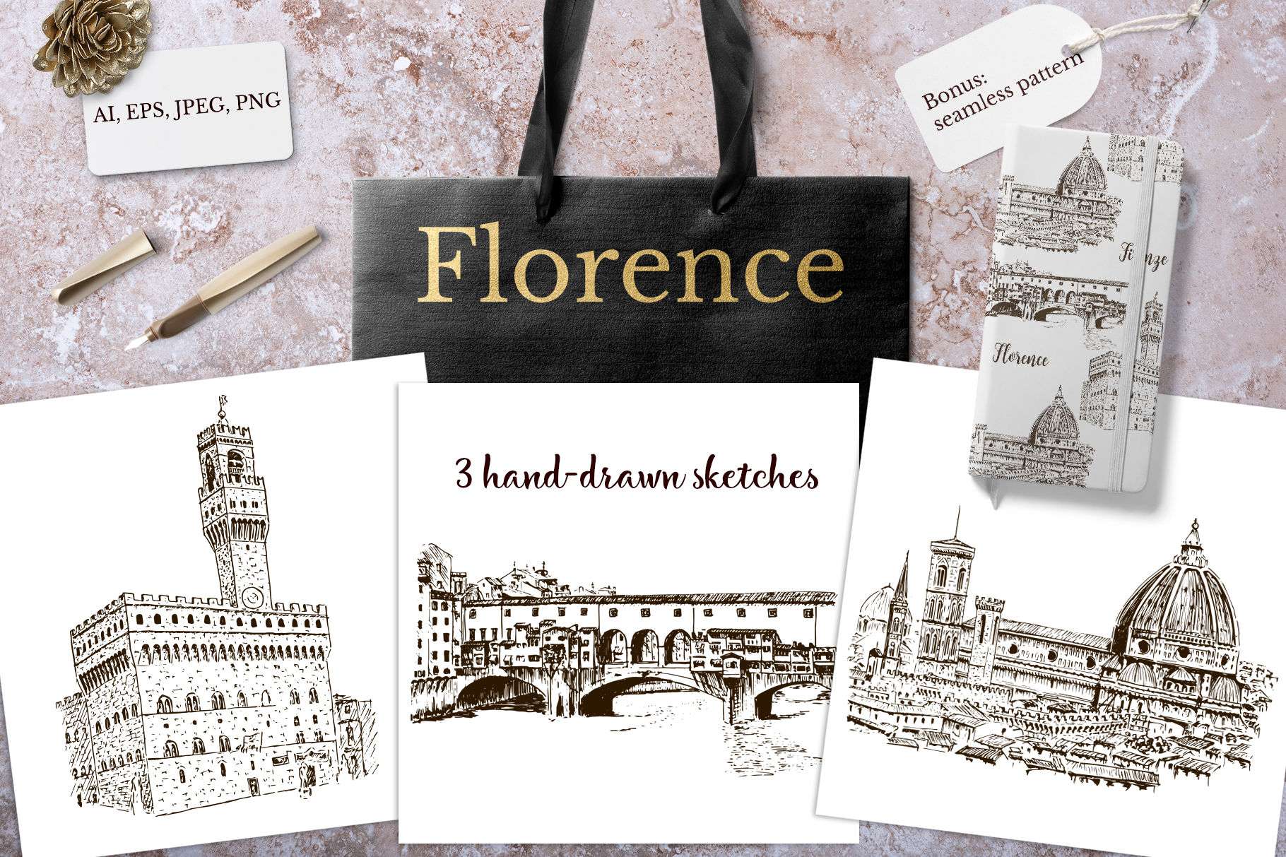 Set of Florence sketches example image 1