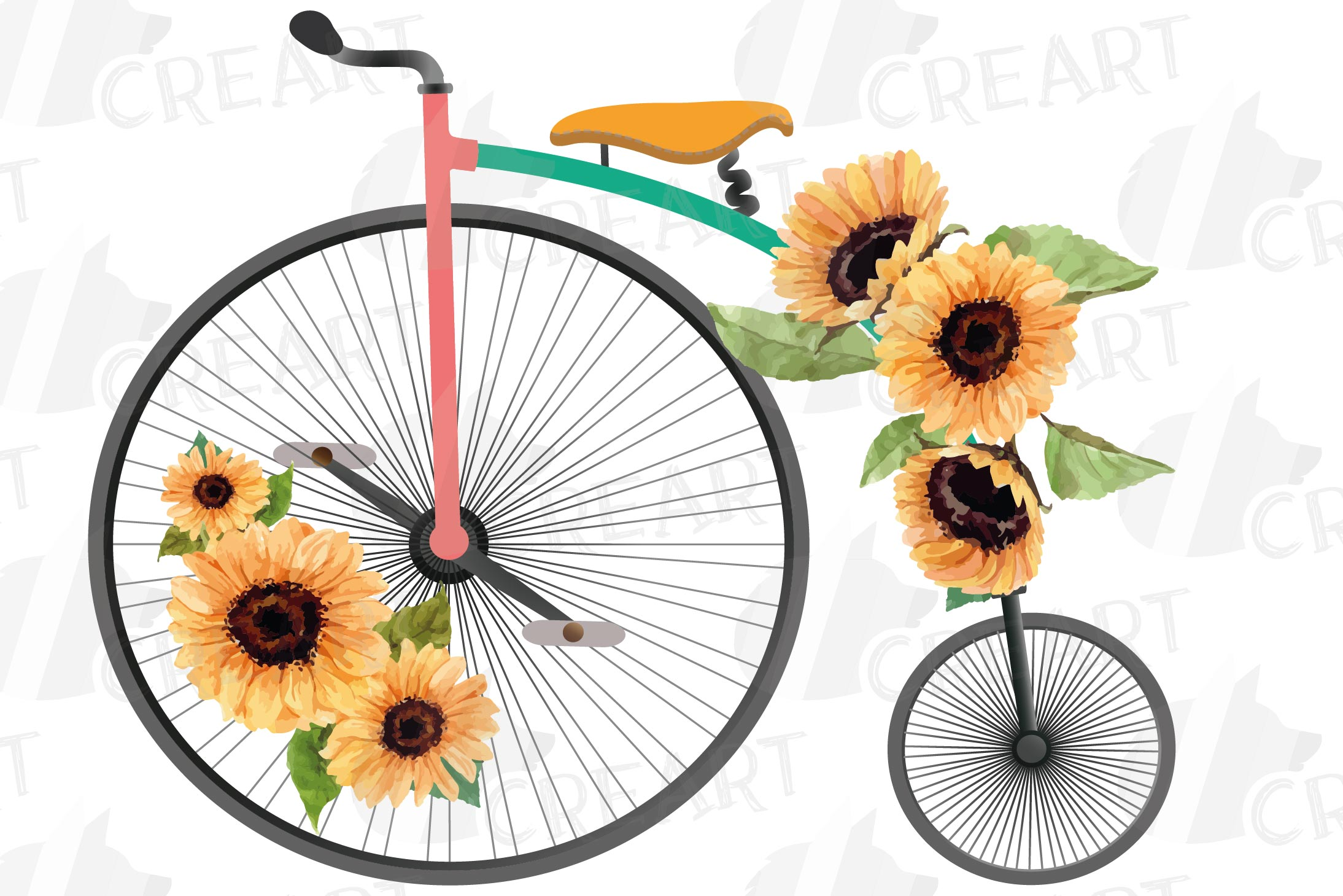 Sunflower bouquets high wheelers clip art. Floral bicycles example image 3