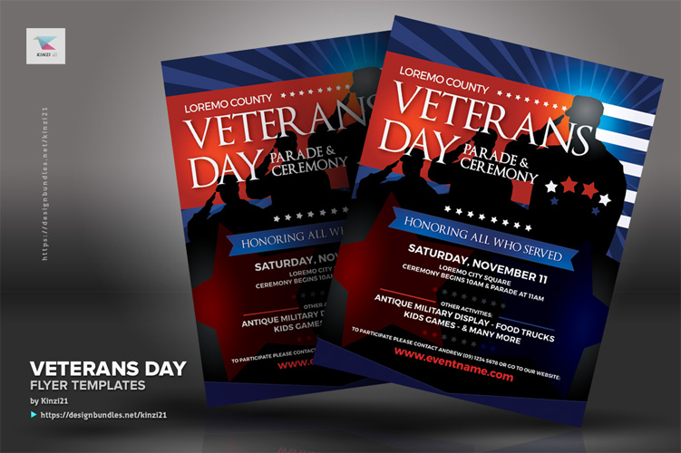 Veterans Day Flyer Templates example image 2