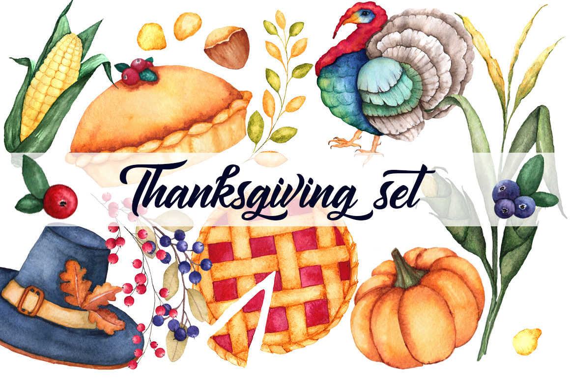 Watercolor Thanksgiving set example image 1