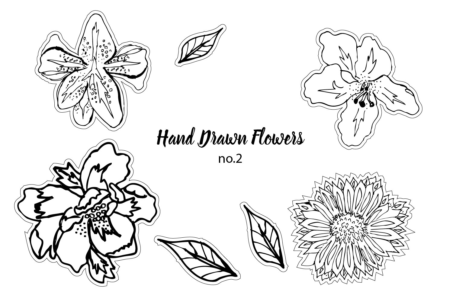 print and cut Hand Drawn Flowers no. 2 example image 1