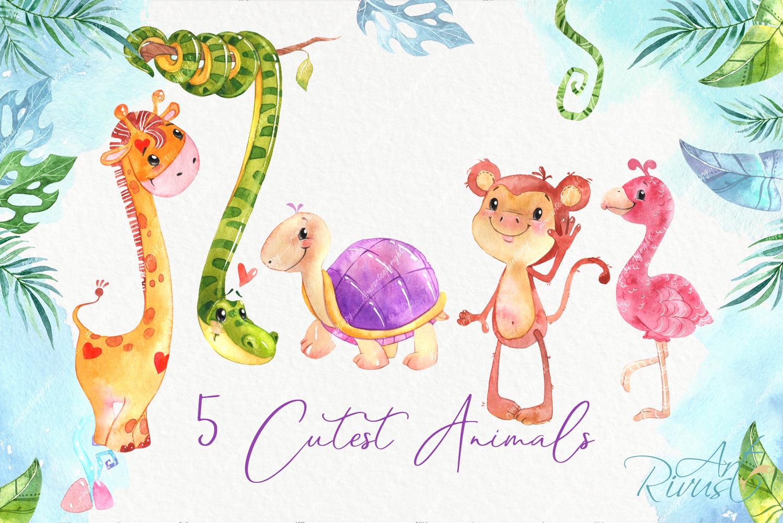Cute safari animals watercolor clipart pack Africa animals example image 3