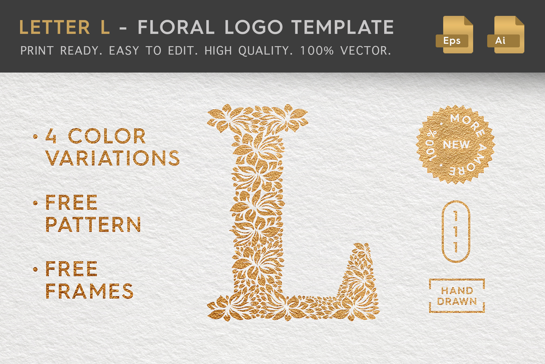 Letter L - Floral Logo Template example image 1