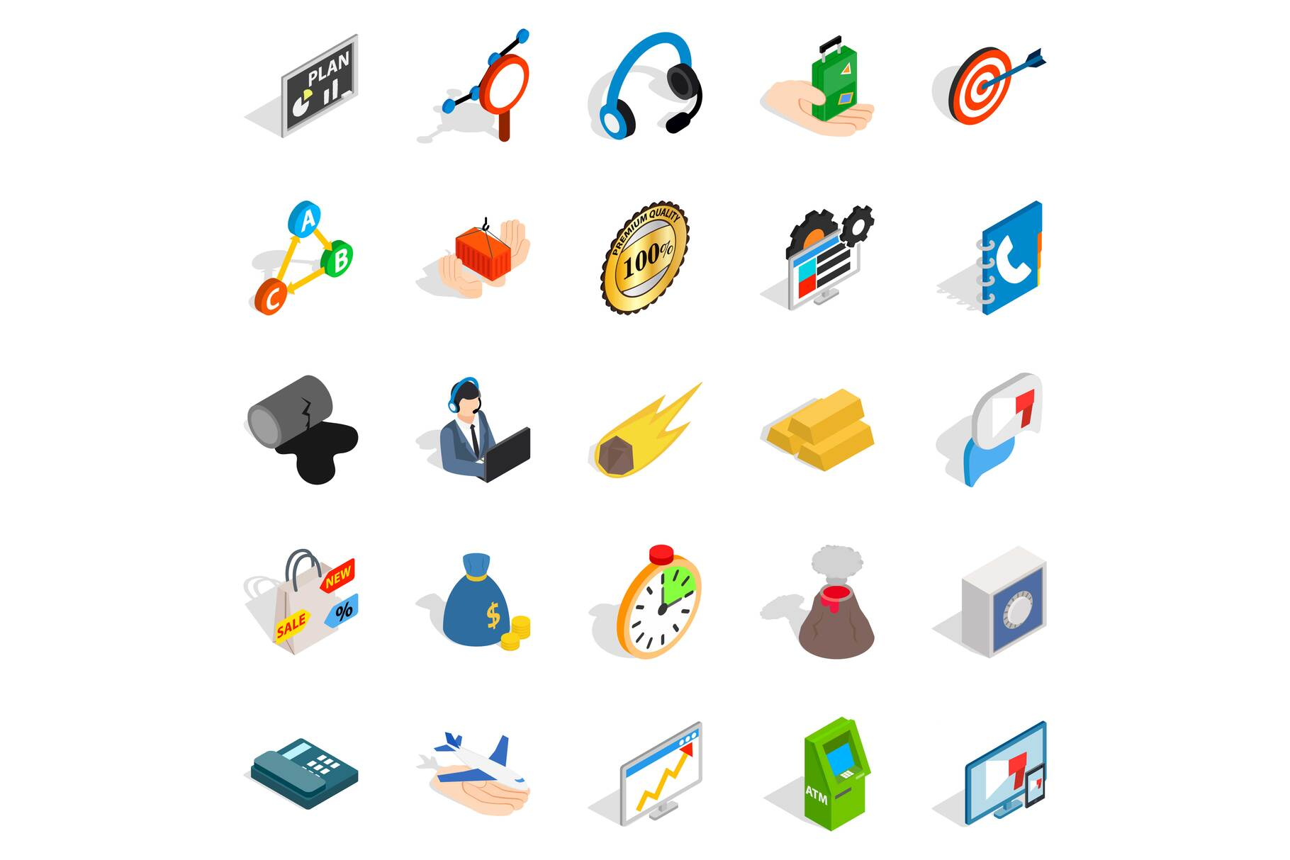 Conference icons set, isometric style example image 1