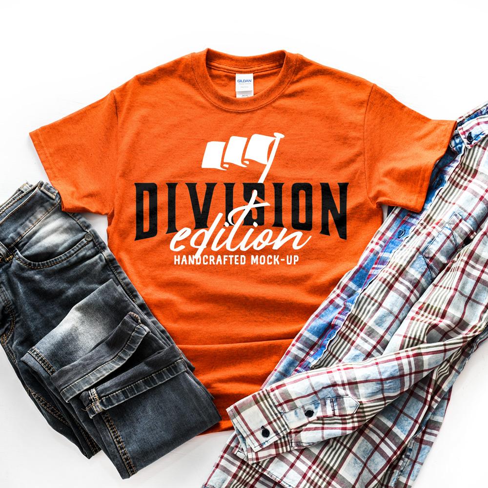 Shirt Mockup - Gildan - 5000 - Antique Orange - photography example image 2