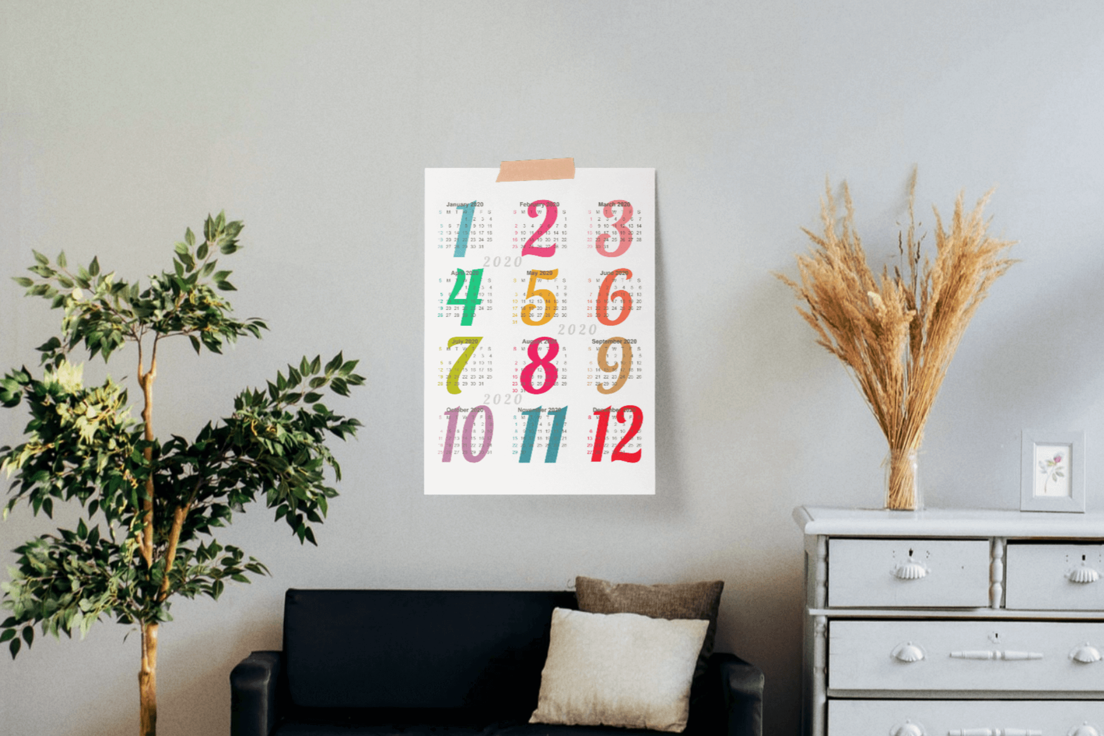 Wall Calendar 2020 Letter & Poster Size Printable PDF PNG example image 2