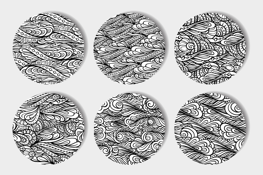 Black and white graphic seamless paterns set example image 2