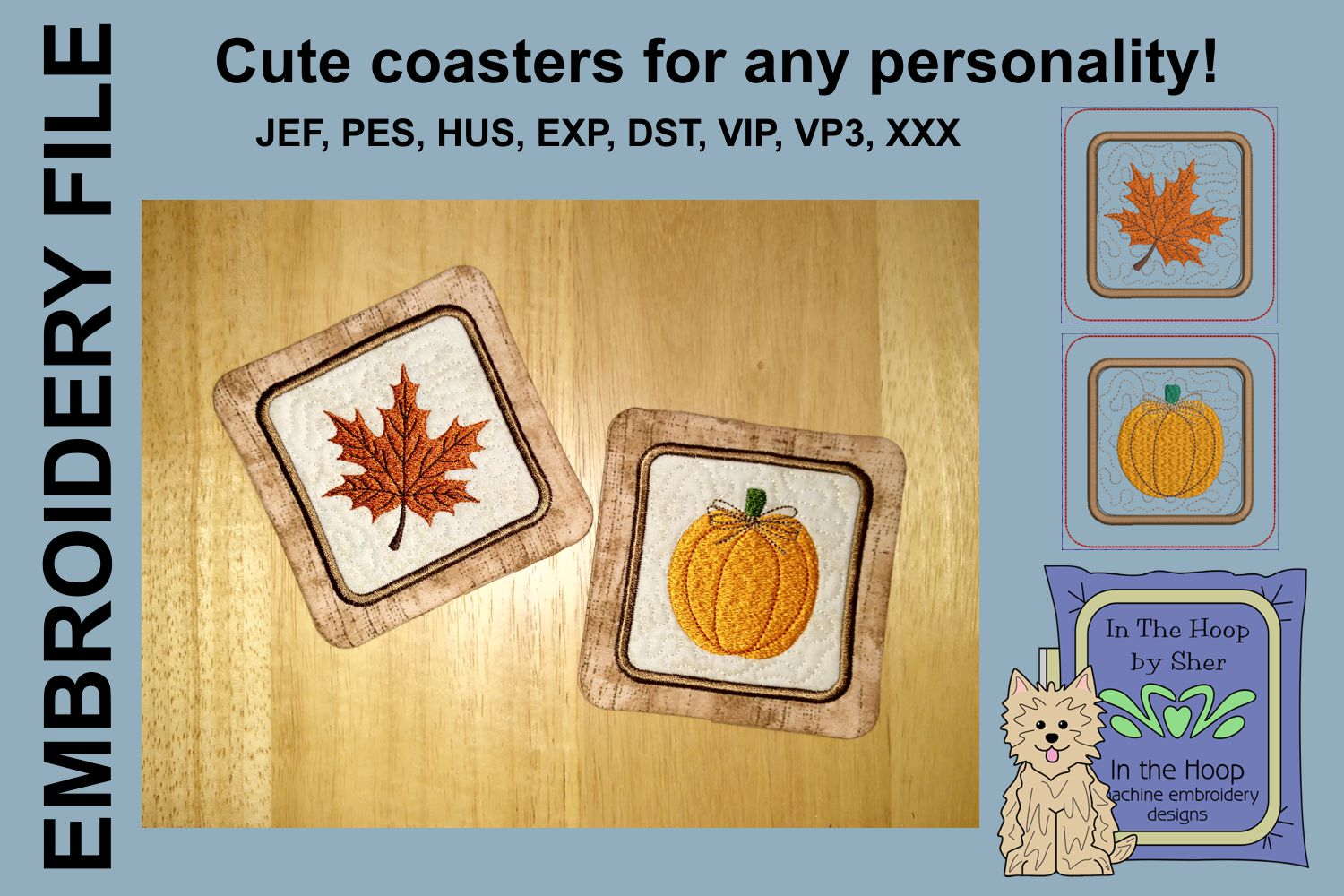 Pumpkin & Leaf Coasters - 4 x 4 and 5 x 7 Hoops example image 1