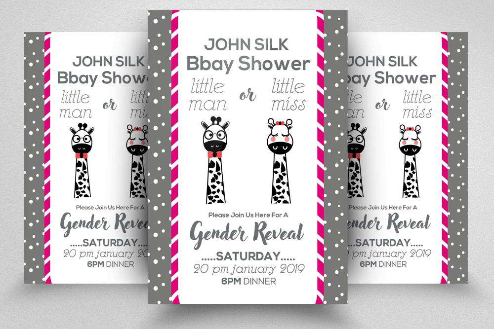 4 Baby Shower Invitation Flyers Bundle example image 4