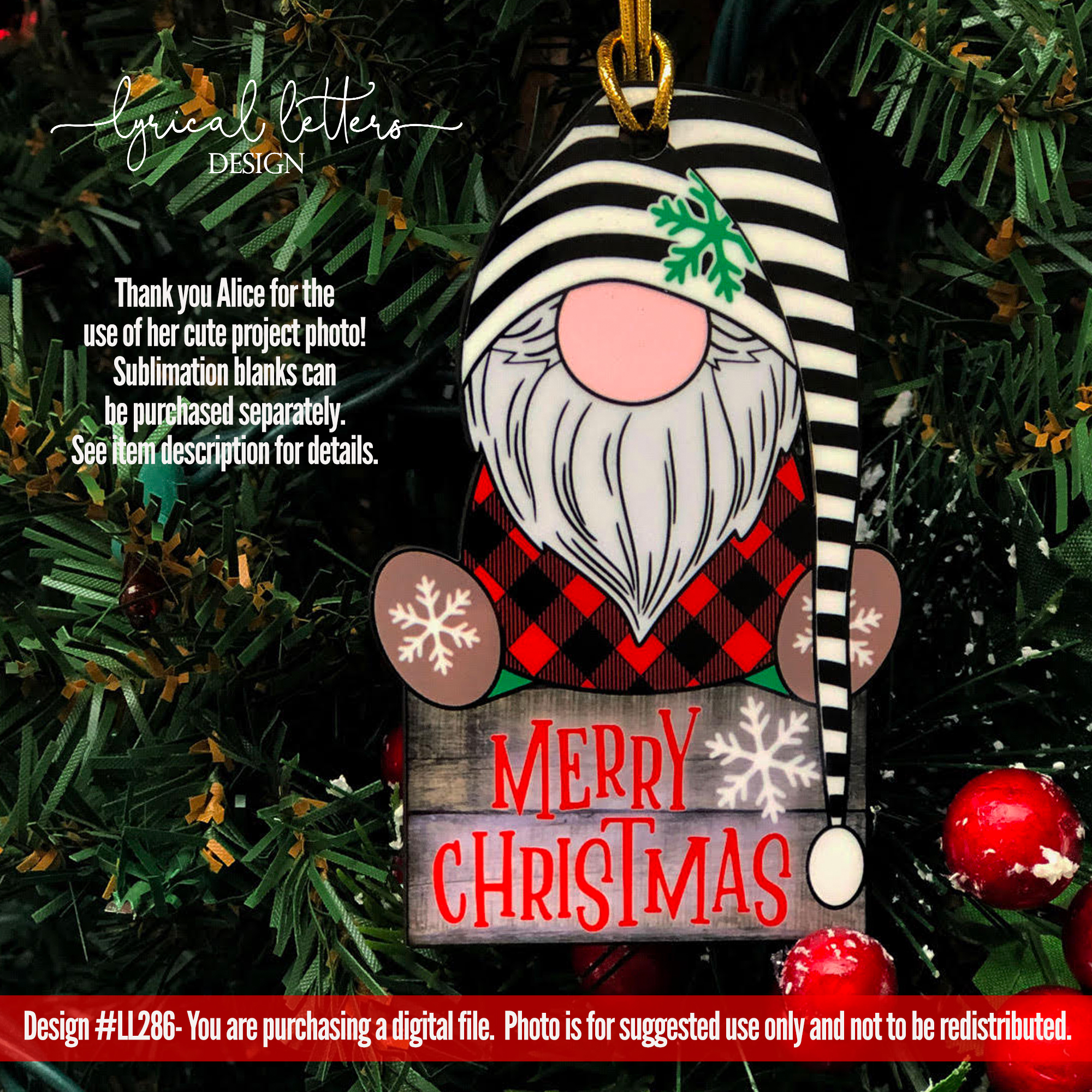 NEW! Merry Christmas Gnome SUBLIMATION Printable PNG LL286 example image 2