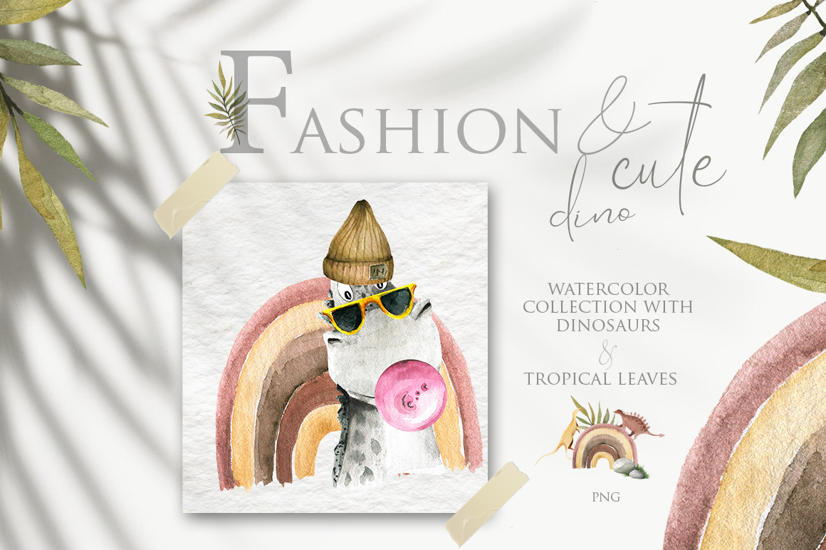 Fashion and cute dino. Watercolor collection example image 1